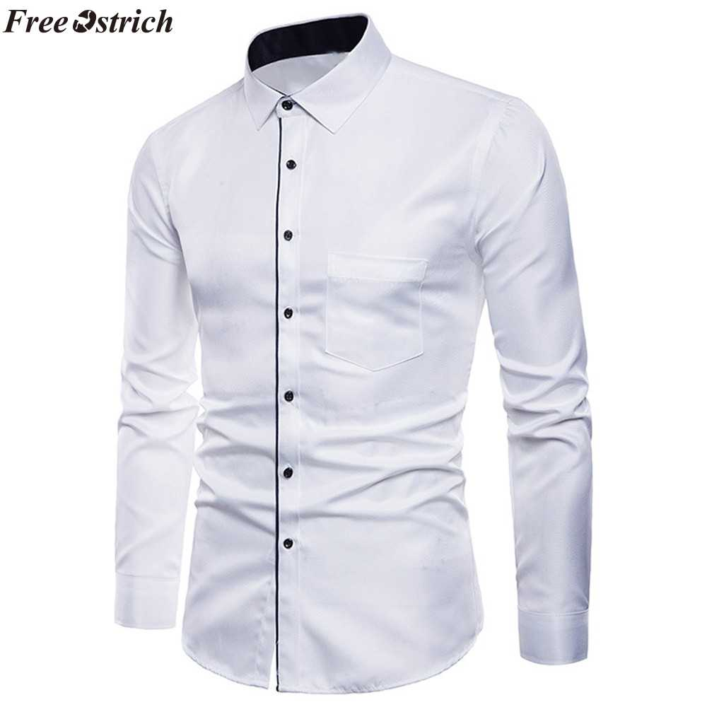 FREE OSTRICH Mens Long Sleeve Solid Color Oxford Formal Casual Winter Autumn Turn-down Collar Suits Slim Fit Dress Shirts Top