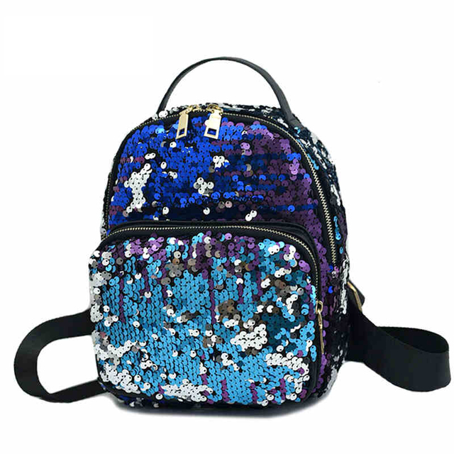 Dazzling Sequin Women Backpack Leather Mini Backpack Cute ...