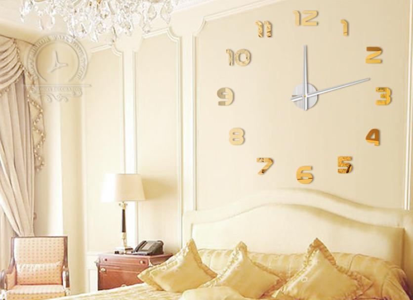 Fashion Diy Large 3d Number Mirror Wall Sticker Big Watch Home Decor Art Clock Home Decoration Accessories