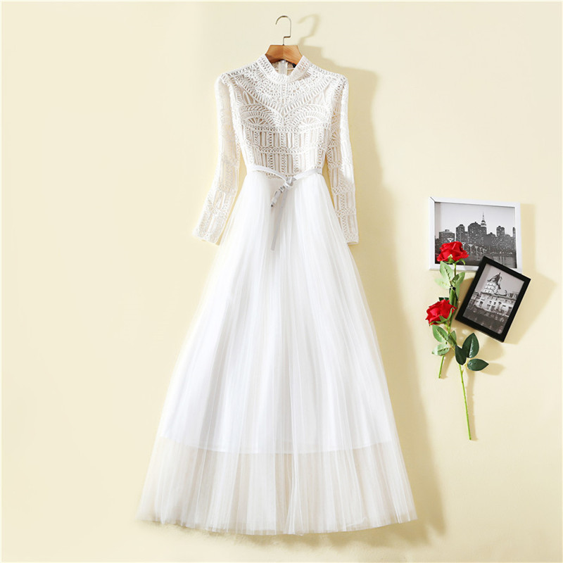 2019 New Spring Fashion Designer Maxi Runway Dress Women Long Sleeve Embroidery White Celebrity Party Tulle Dress