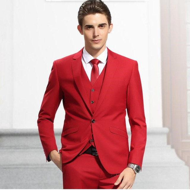 new Style men suits One Button Red Groom Tuxedos Groomsmen Men\'s ...