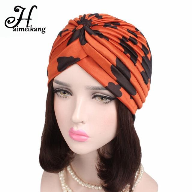 Haimeikang Cotton Cow Pattern Print Turban Head Wrap Hat Turban Headband  Bandana Chemo Cap for Women Hair Bands Accessories 4259ad4d805