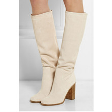 Women Winter Shoes Beige Suede Leather Ladies Knee High Boots Sequined Sexy Heels zapatos mujer Stockings
