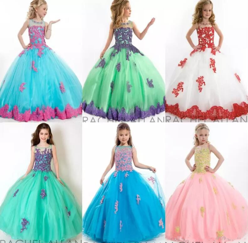 Flower Girl Dresses For Weddings Blue White Green Pink Appliques Jewel Tull Floor Length Long Lace Girls Pageant Ball Gowns