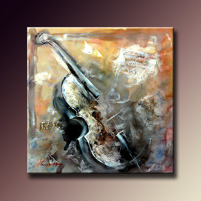 Handmade Modern Abstract Musical Oil Paintings Violin Home
