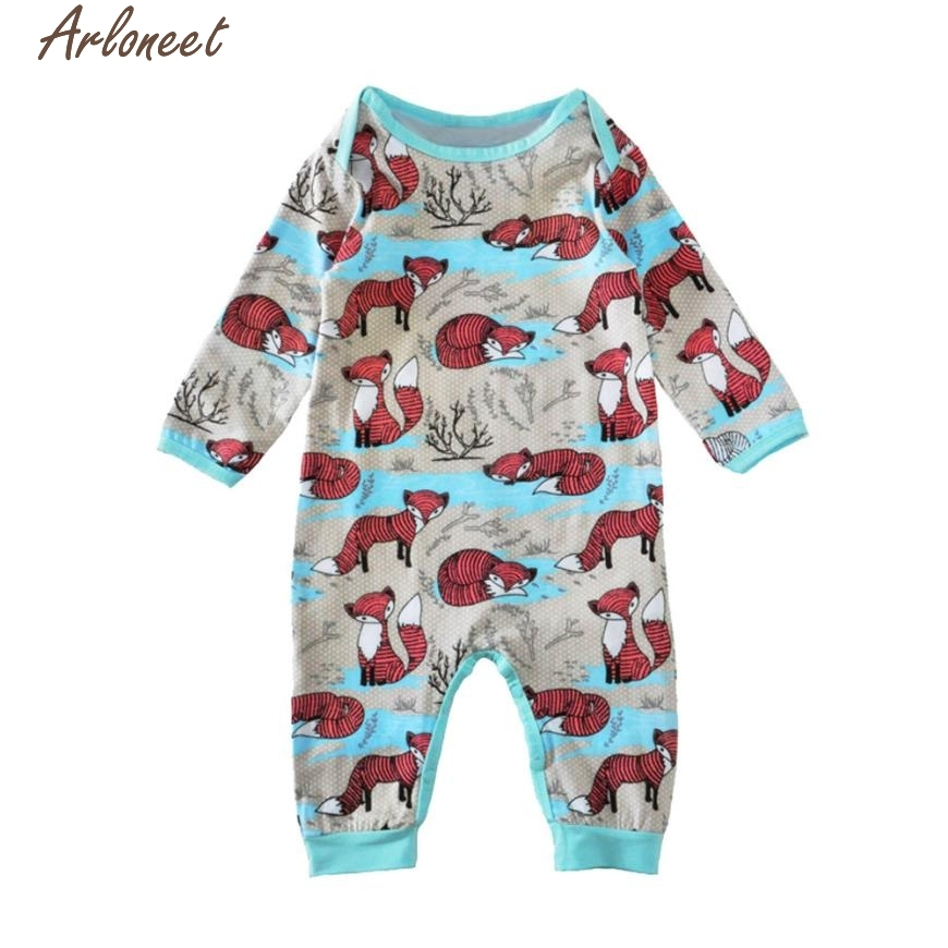 Christmas Pajamas Dress For Baby Girls Toddler Baby Kids Foxes Print Set Infant Romper Jumpsuit +Hat Clothes Outfit Set &