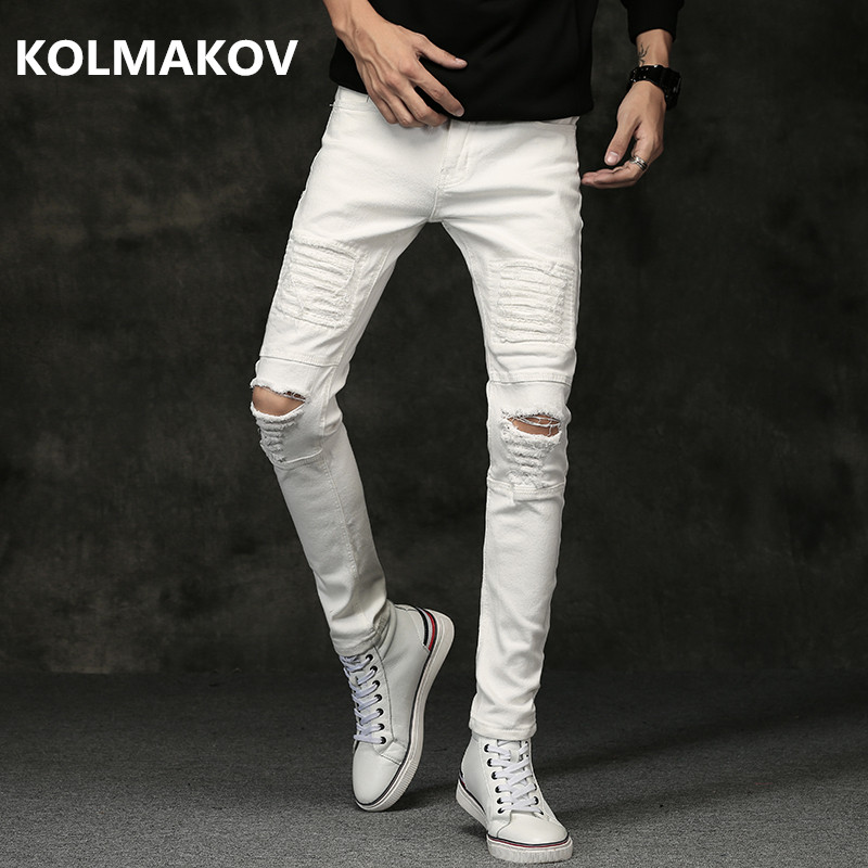 2019 Spring New men Jeans Black White Classic Fashion hole style Denim Skinny Jeans men's casual High Quality Slim Fit Trousers