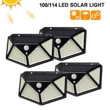 100/114 LED Solar Lamp PIR Motion Sensor 3 Modes Outdoor Solar Garden Light Four-Sided Waterproof Energy Saving Wall Yard Lamps