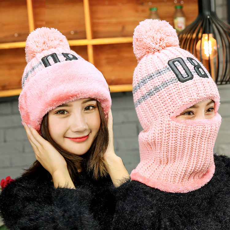 Girl Wool Hat Women Winter Beanie Thickening Knitting Cap Warm Men Hats Outdoor Ride Cycling Mask Ski balaclava Head Cap Gorro 2017 new wool grey beanie hat for women warm simple style bad hair day knitting winter wooly hats online ds20170123 x24