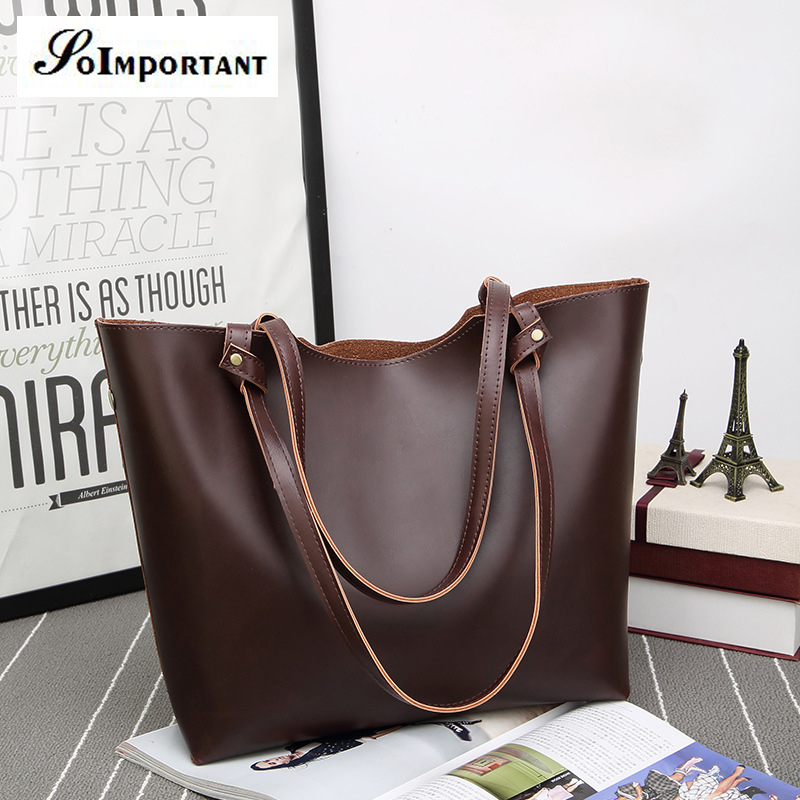 Big Large Women Bag New 2017 Hot Women Leather Casual Tote Shoulder Bag Women Composite Bags