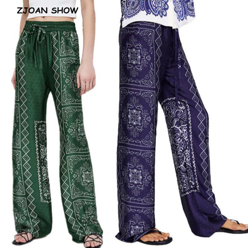 2019 Spring New Ethnic Green Geometric Plaid Print   Wide     Leg     Pants   Women Bohemian High Waist Trousers Casual loose Long   Pants