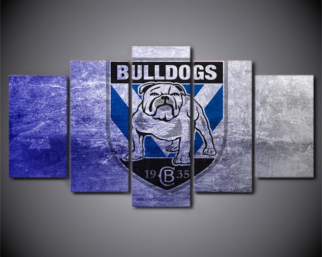 Hd Printed Wall Picture 5 Piece Canvas Art Nrl Logo Bulldogs Posters