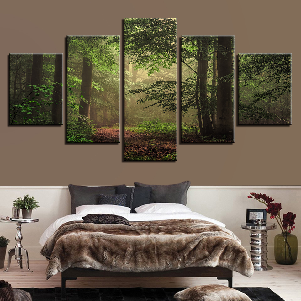 Modular Canvas Posters Paintings Green 5pieces Decor Frames Pictures Forest-Scenery Wall-Art