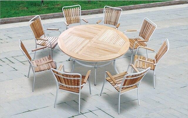 1 + 8 plazas de madera sólida redondo mesa de comedor para el jardín ...