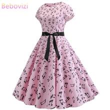 Bebovizi Women Clothes 2019 New Casual Summer Bandage Dress Vintage Sexy Plus Size Elegant Office Note Print Pink Stripe Dresses