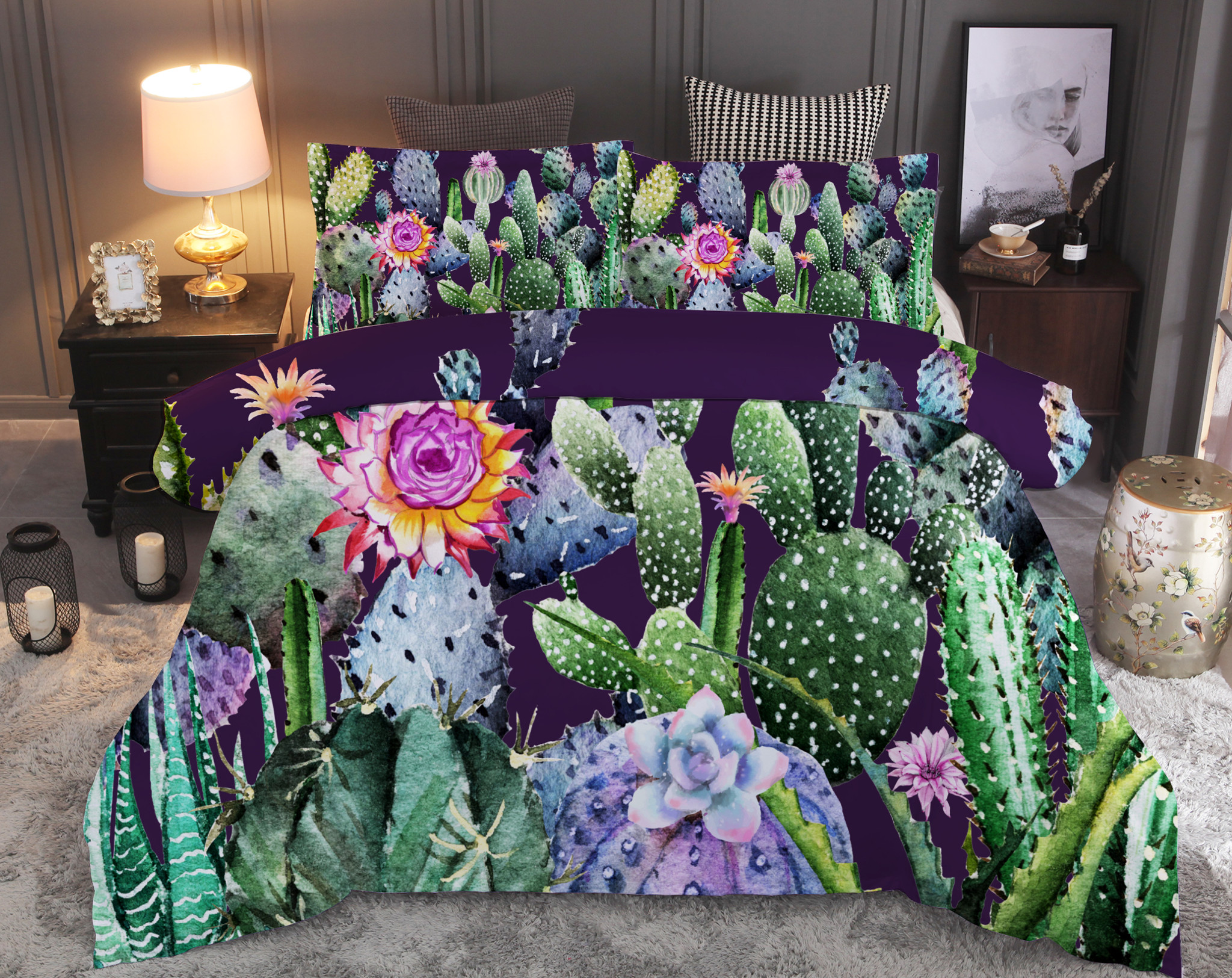 Tropical Plant Bedding Set Cactus with Flower Duvet Cover Sets Queen King Quilt Cover Bed LinenTropical Plant Bedding Set Cactus with Flower Duvet Cover Sets Queen King Quilt Cover Bed Linen
