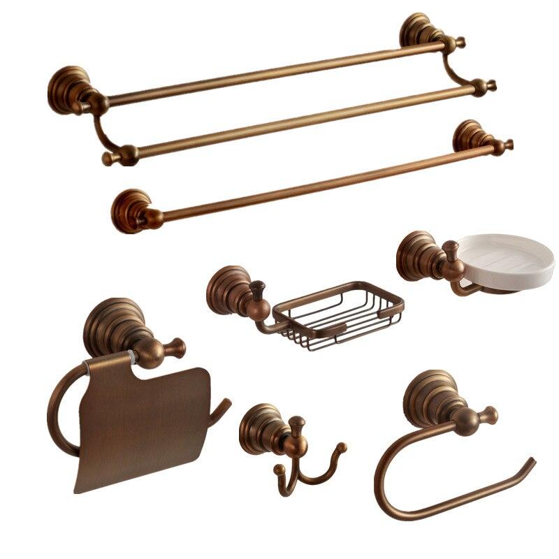 Vintage Bronze Brass Carved Base Bathroom Accessories Copper Brushed  Bathroom Products Wall Mount Bathroom Hardware Sets