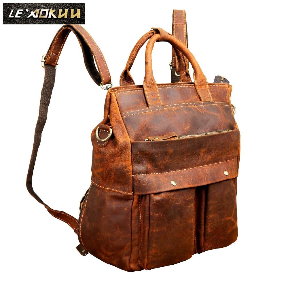 Original leather Design University Student School Book Bag Male Fashion Knapsack Daypack Backpack Travel 13 Laptop