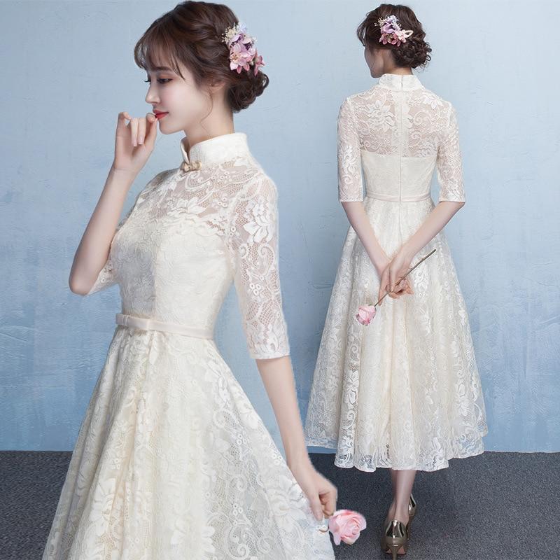 Chinese Qipao Women Embroidery Dress Evening Gown A Line Cheongsam Wedding New