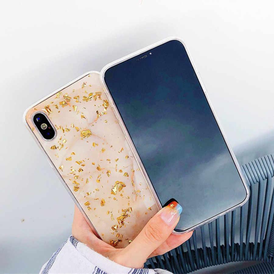 الفاخرة الذهب احباط بلينغ الرخام الهاتف حقيبة لهاتف أي فون X XS ماكس XR لينة غطاء من البولي يوريثان الحراري خزائن هاتف آيفون 7 8 6 6 s زائد بريق حالة كوكه