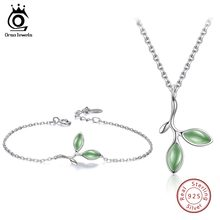 ORSA JEWELS Real 925 Sterling Silver Women Jewelry Sets Leaf Pattern Design Cat's Eye Stone Party Necklace Bracelet SS21-2(China)