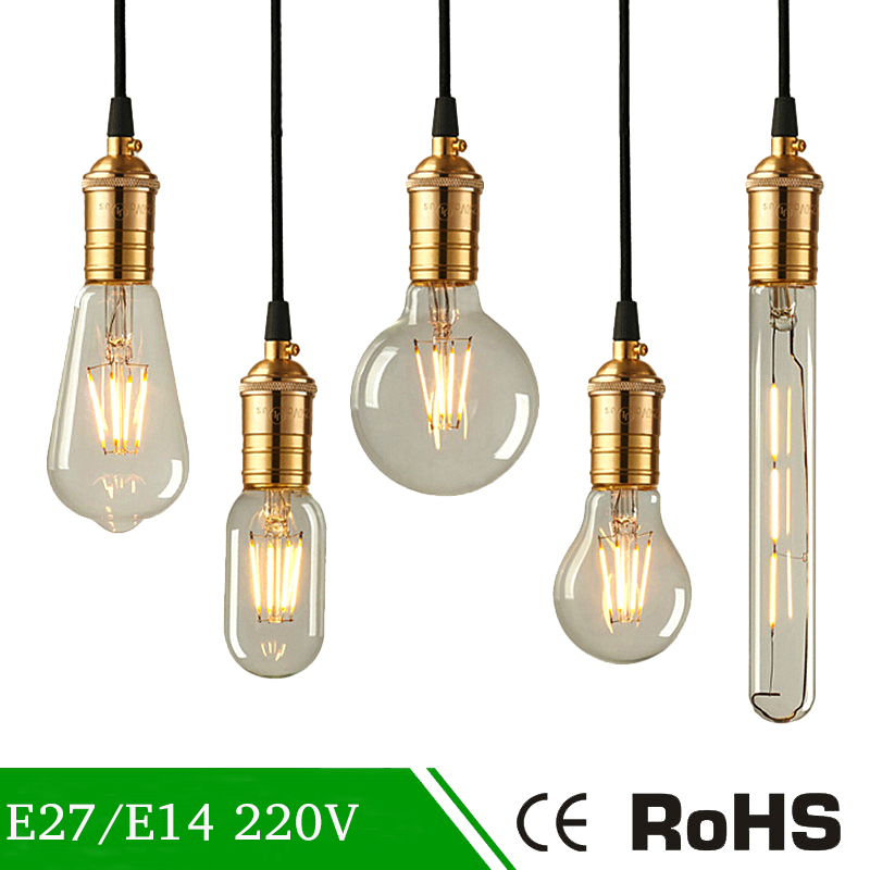 Vintage LED Edison Bulb 220V Glass Candle Bulb C35 A60 G45 Real Watt 2W 4W 6W Edison Lamp E27 E14 Antique Retro Filament Light 4pcs candle e14 edison led filament bulb c35 vintage spiral lamp warm 2200k soft flexible filament cob led bulb gold tint