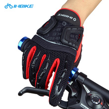 INBIKE Spring Long Finger Bicycle Gloves Gel Breathable Non-slip Cycling Gloves Equipment Motorcycle Racing Glove Guantes Black