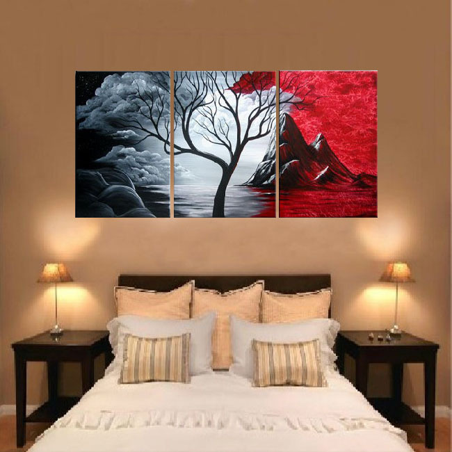 Free shipping handpainted 3 piece canvas wall art red black white oil painting as unique gift