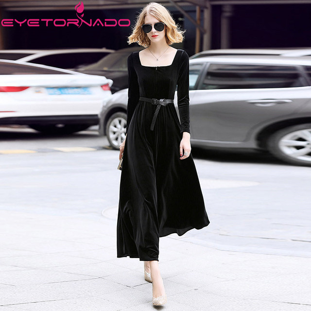 2018 High end women slim elegant solid runway velvet dress autumn square collar long sleeve casual party maxi flannel dress