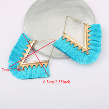 Bohemia Tassel Hoop Earrings Women Vintage Golden Statement Triangle Charm Earrings Harajuke Lace Geometric Earrings New Style 2018 summer new india golden jhumki earrings bohemia blue tassel earrings hippy charm fake beach travel jewelry