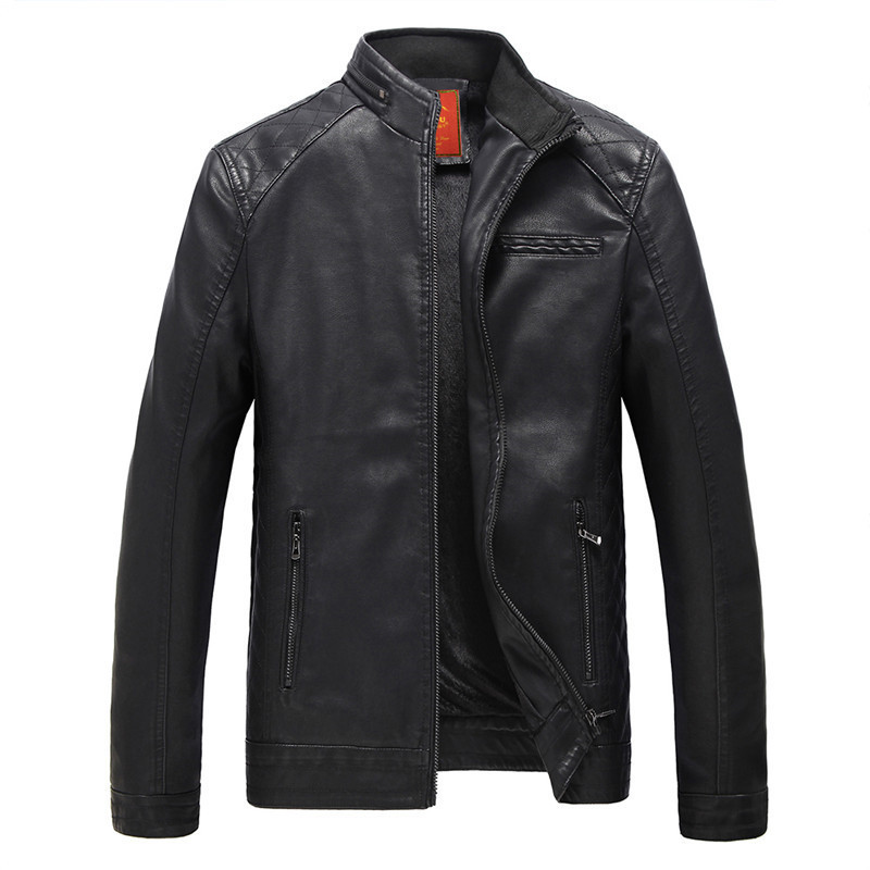 2018 Sizzling Vogue Males's Leather-based Jacket Motorbike Clothes Leather-based Jacket Coat Windproof Free Transport
