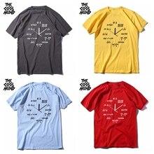 cotton math clock print men T shirt short sleeve Tops SF