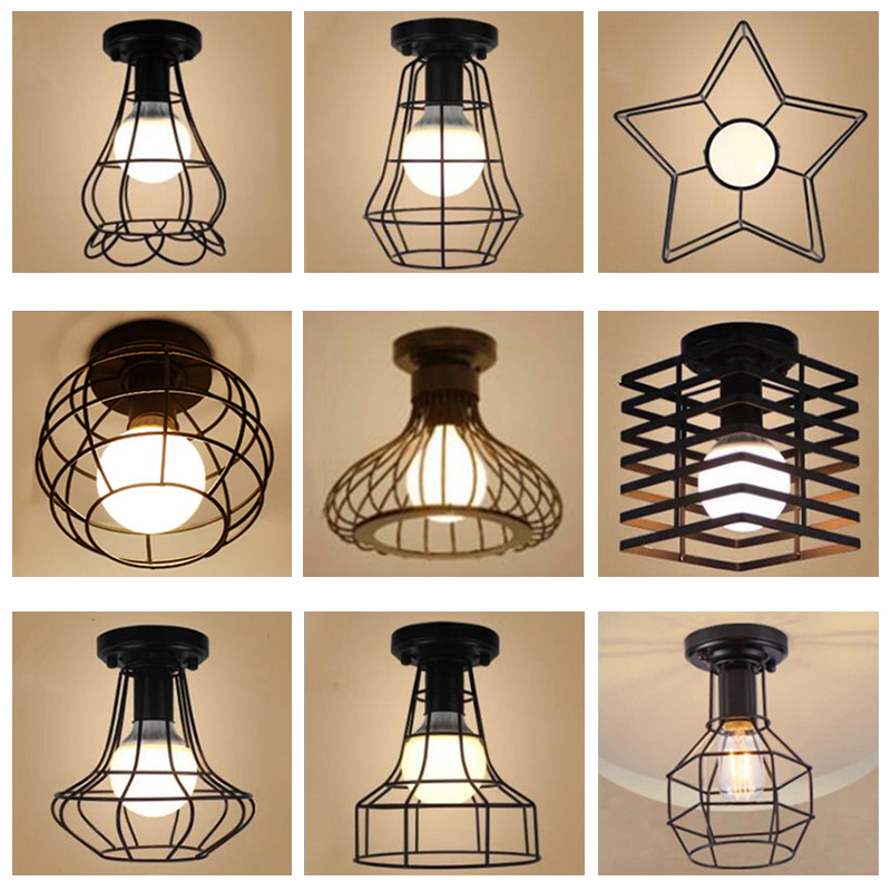 Современные кованые E27 светодиодные потолочные светильники, черные потолочные светильники для кухни, гостиной, спальни, учебы, прохода, ресторана, кафе, отеляПотолочные лампы    АлиЭкспресс