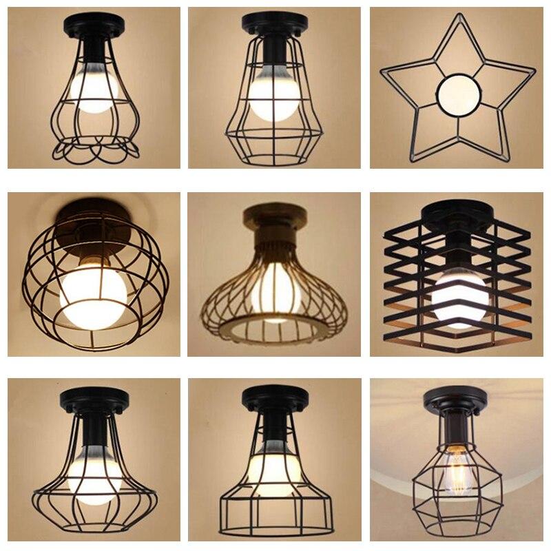 Moderne schmiedeeisen E27 led decke lampen schwarz decke lichter für küche wohnzimmer schlafzimmer studie gang restaurant cafe hotel