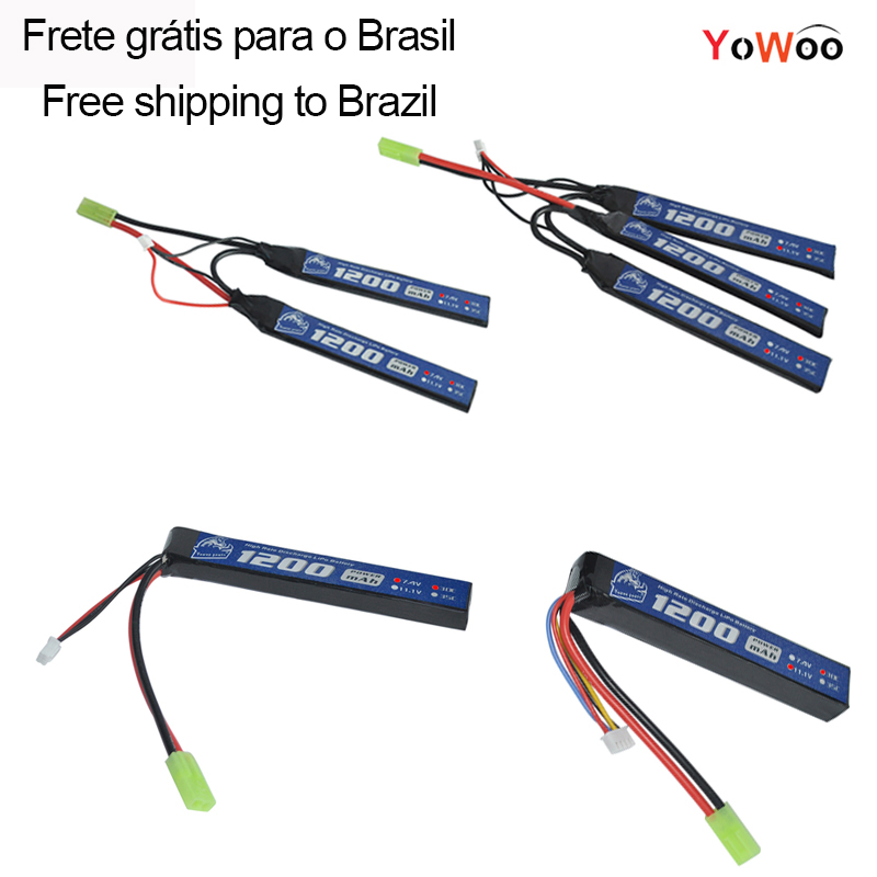 YOWOO Lipo 2 S 3 s batería 7,4 V 11,1 V 1200 mAh 30C MAX 60 w Mini Tamiya Plug airsoft pistola modelo para juguetes de Control remoto pistola BB