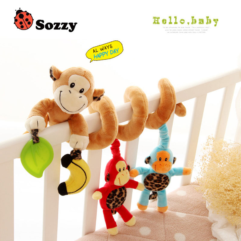 Sozzy Newborn Plush Animals Toys Crib Revolves Around Hanging Bell/Rattles Music Infant Bed Baby Stroller For 0-2 Years Kids B