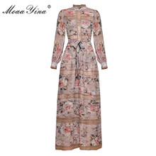 MoaaYina  Fashion Designer Runway dress Spring Women Dress Vintage Print Lantern Sleeve Lace Patchwork Lace-UP Maxi Dresses