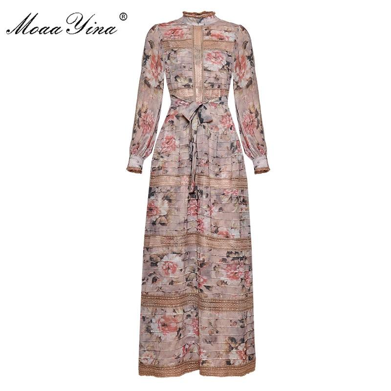 Kadın Giyim'ten Elbiseler'de MoaaYina Moda Tasarımcısı Pist elbise Bahar Kadın Elbise Vintage Baskı Fener Kollu Dantel Patchwork Dantel UP Maxi Elbiseler'da  Grup 1