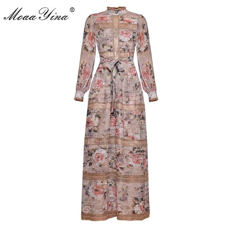 MoaaYina Mode Designer Runway kleid Frühling Frauen Kleid Vintage Print Laterne Hülse Spitze Patchwork Spitze UP Maxi Kleider-in Kleider aus Damenbekleidung bei  Gruppe 1
