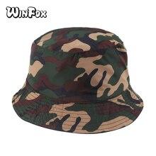 Winfox 2018 New Fashion Summer Reversible Camouflage Gorro Pescador Camo Fisherman Hats For Womens Ladies maharishi reversible camo crew british bonsai forest night camouflage