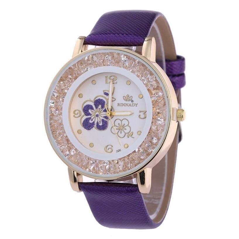 Women Watch Crystal Ball Diamond Diamond Rose Pattern Quartz Belt Watch Flower Relogio Feminino Bayan Kol Saati #JO