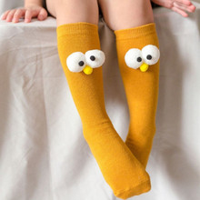Baby Cotton Socks Kids  Cartoon 3D Big Eyes Sock Boys Girls Long Soft Socks Children Solid Candy Color Spring Autumn Fashion