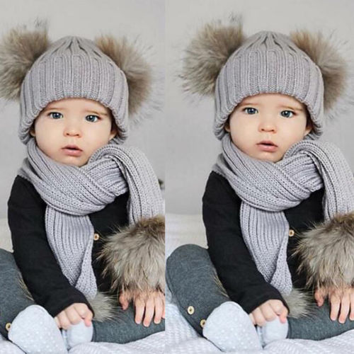 Cute Baby Toddler Infant Kids Warm Winter Scarf Knit Fur Beanie Hat Scarf Crochet Ski Ball Cap