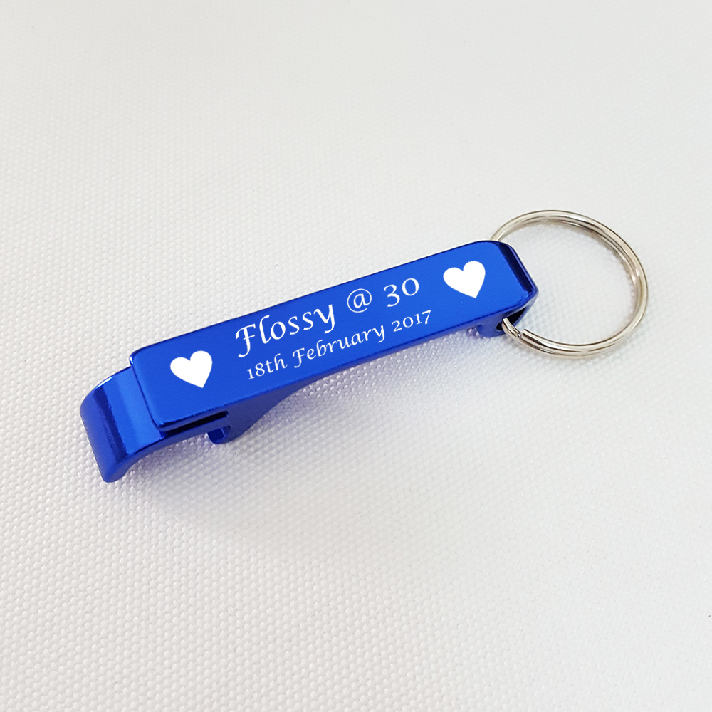Personalized Wedding Favor Blue Bottle Opener Keychain Birthday ...