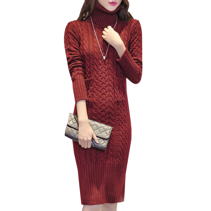 Autumn Winter Turtleneck Sweater Dress New Twist Warm Thick Knitted Dresses Long Split Sheath Pullovers Knittedwear Vestidos 548 tanworders women thick warm winter hats 2017 autumn new knitted beanies hat button ski caps gorro invierno