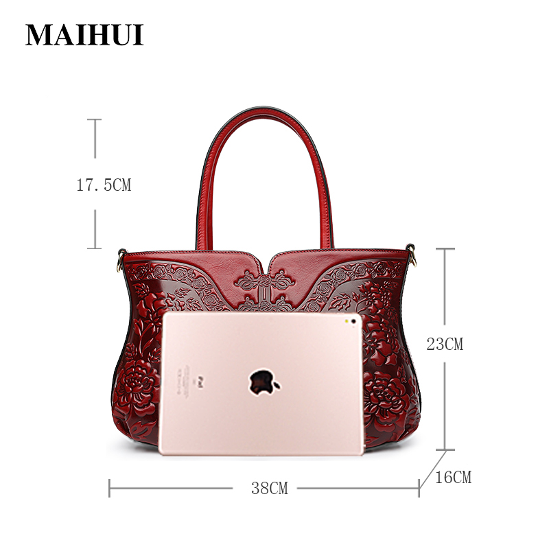 Maihui Women leather handbags high quality real cow genuine leather bag 2018 new chinese style floral casual shoulder tote bags maihui designer handbags high quality shoulder crossbody bags for women messenger 2017 new fashion cow genuine leather hobos bag