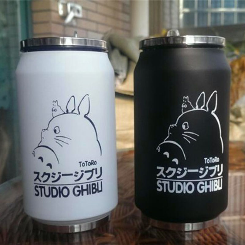 2PCS LOT Creative Cartoon Vacuum Thermos Mug My Neighbor Totoro can of cola Novelty double wall stainless steel cups Totoro Cup in Vacuum Flasks Thermoses from Home Garden