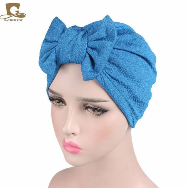 e9392d5482b Produs New women luxury bow Turban Hat Stylish Chemo cap detachable ...