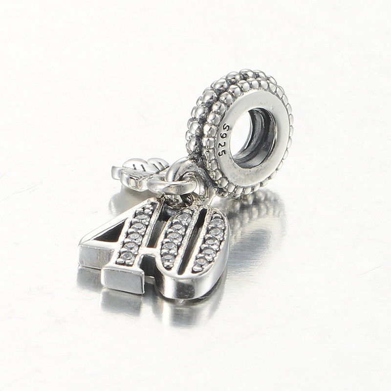 Fits Pandora Charms Bracelet Authentic 925 Sterling Silver European Beads 40 Anniversary With Cz Dangle Silver Charm Diy Jewelry Bead Wire Bracelet Bead Charm Braceletbeaded Elastic Bracelet Aliexpress