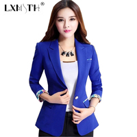 Kadın Blazer 2018 Ince kadın Blazer Baskı Mujeres Blazers y chaquetas Nocthed Tek Düğme Blazers Damas 5XL Artı Beyaz mavi